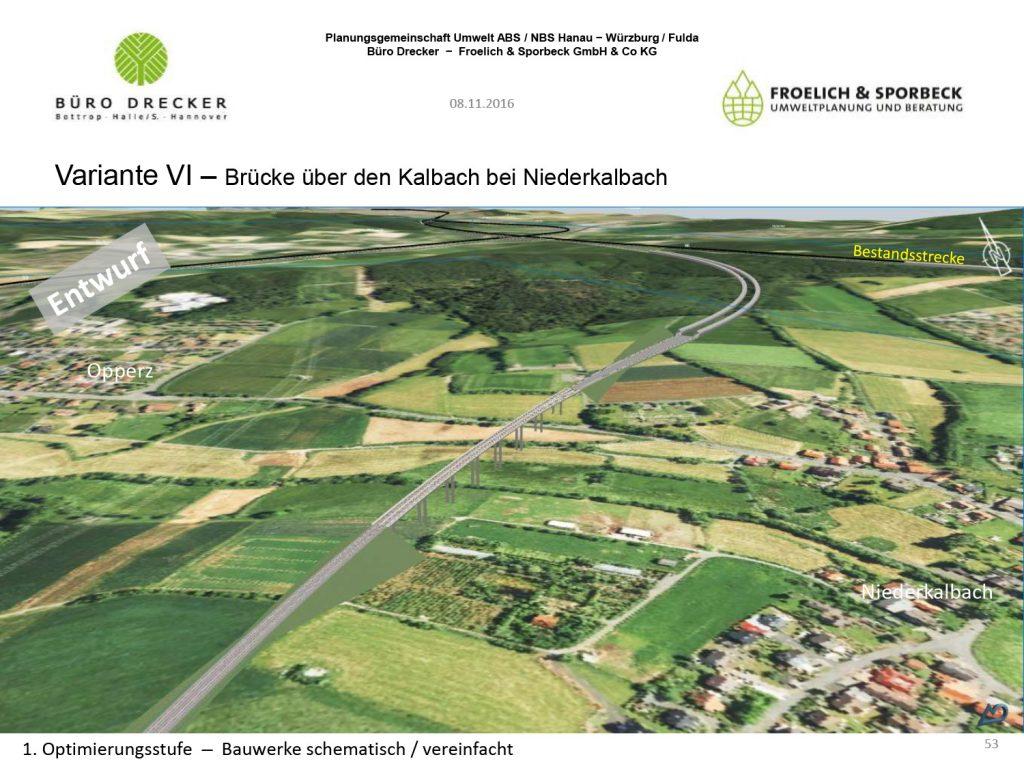 Variante VI - Brücke und Tunnel zwischen Neuhof und Niederkalbach
